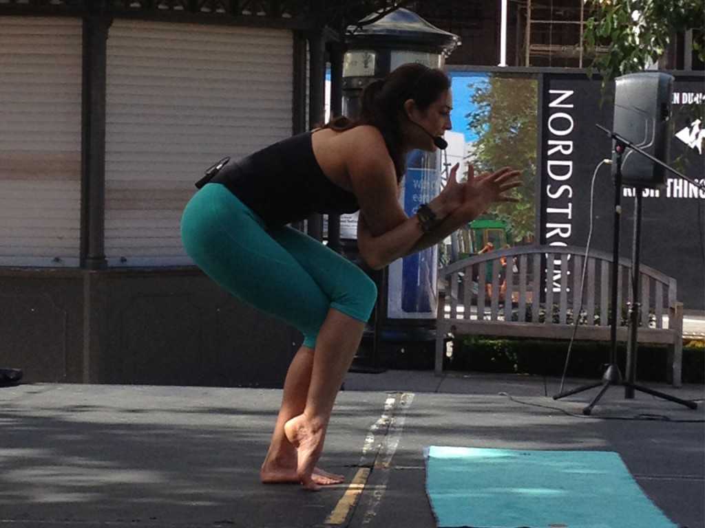 Liz Arch teaching the first Yoga class of the day.